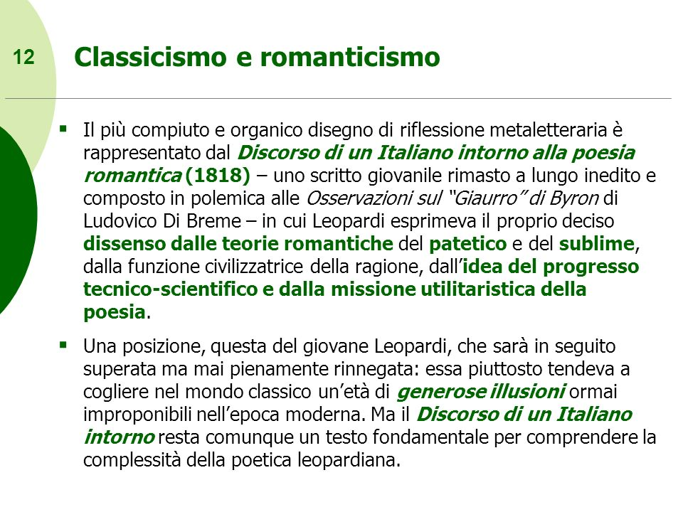 Classicismo e romanticismo