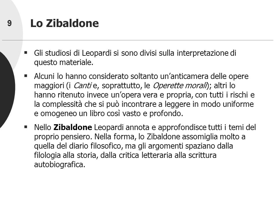 Lo Zibaldone Gli studiosi di Leopardi si sono divisi sulla interpretazione di questo materiale.