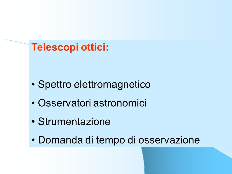 Telescopi ottici:Spettro elettromagnetico.Osservatori astronomici.