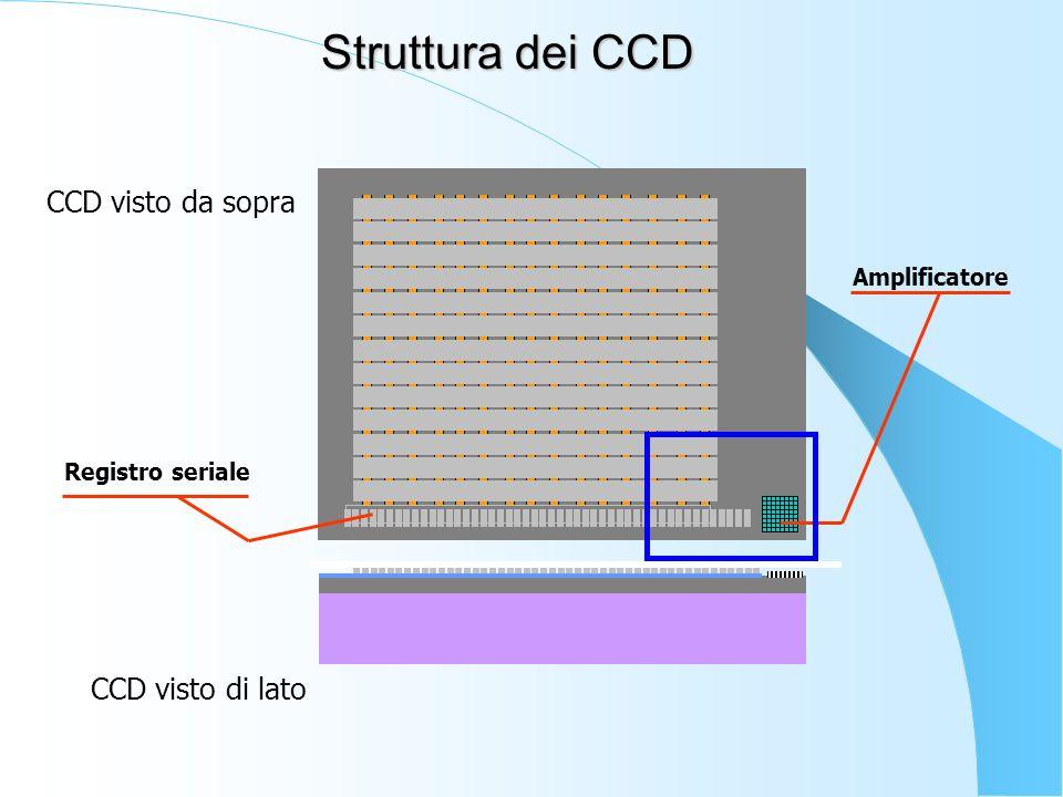 Struttura dei CCD CCD visto da sopra CCD visto di lato Amplificatore
