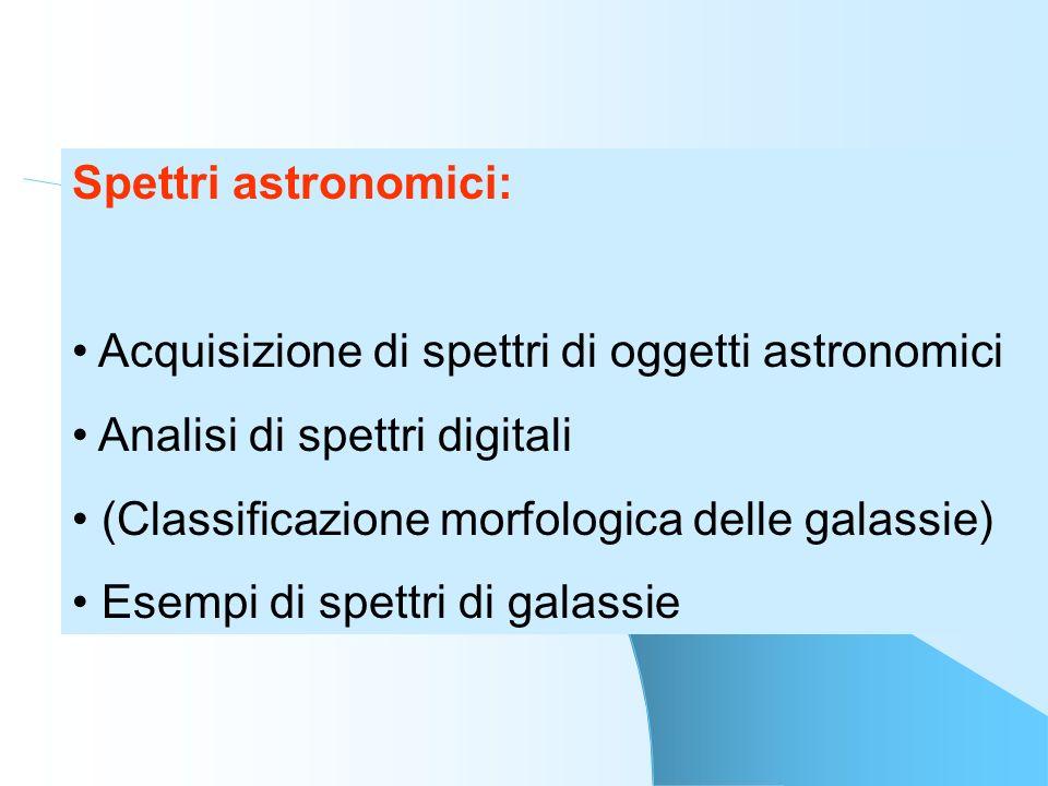 Spettri astronomici:Acquisizione di spettri di oggetti astronomici. Analisi di spettri digitali. (Classificazione morfologica delle galassie)