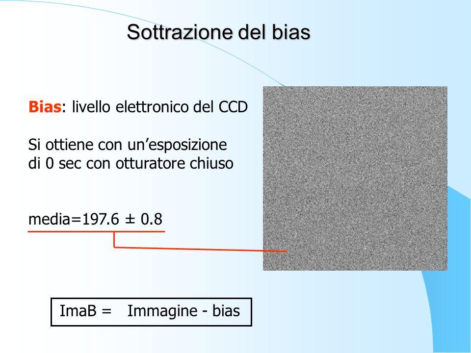 Sottrazione del bias Bias: livello elettronico del CCD