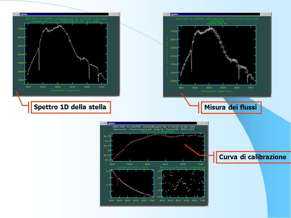 Spettro 1D della stella Misura dei flussi Curva di calibrazione