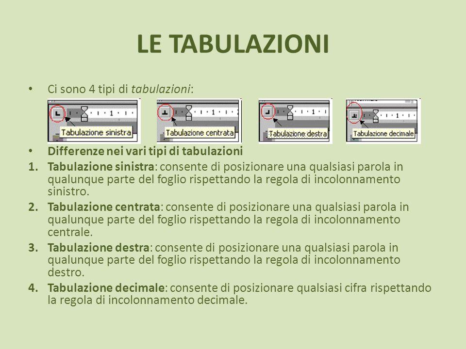 LE TABULAZIONI Ci sono 4 tipi di tabulazioni: