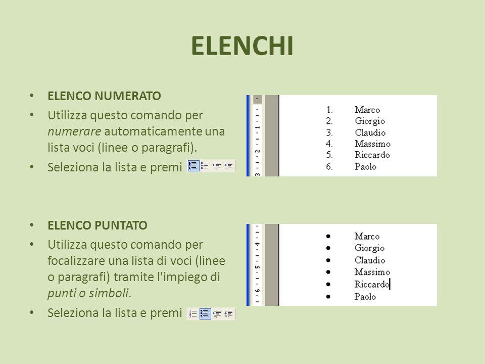 ELENCHI ELENCO NUMERATO