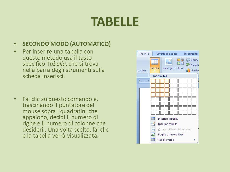 TABELLE SECONDO MODO (AUTOMATICO)