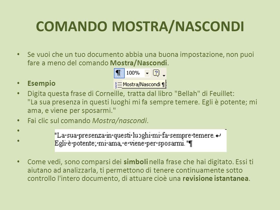 COMANDO MOSTRA/NASCONDI