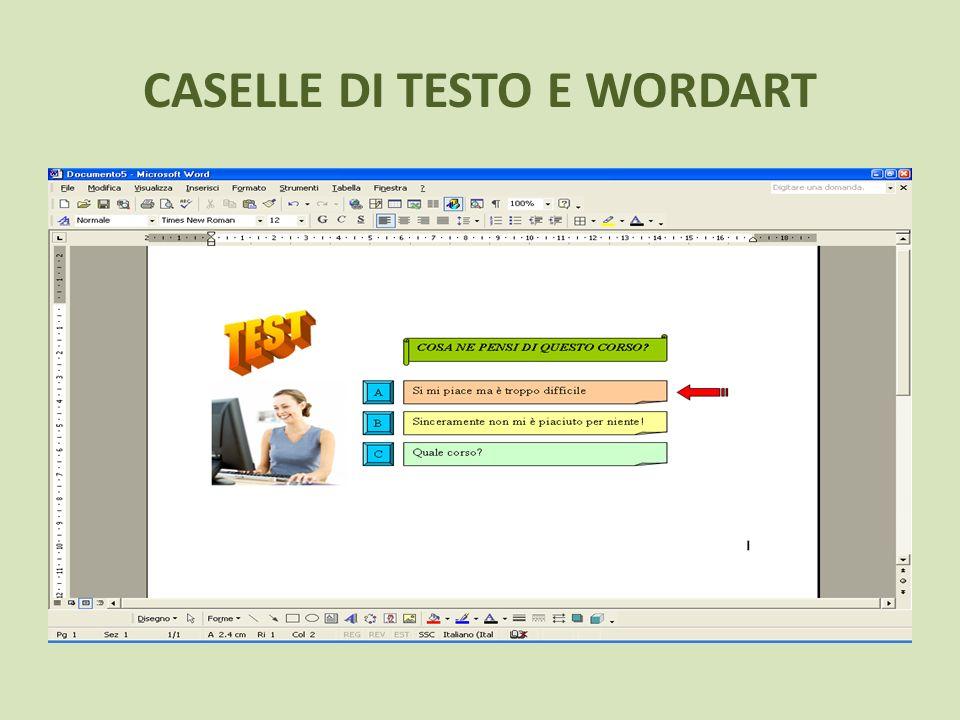 CASELLE DI TESTO E WORDART