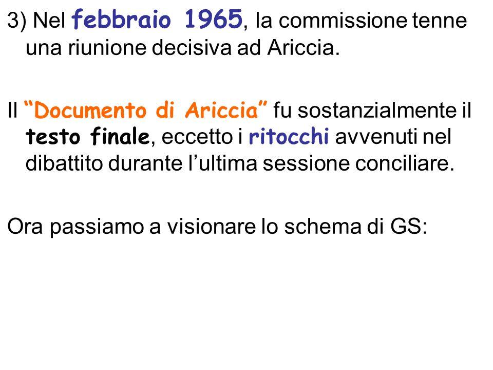 3) Nel febbraio 1965, la commissione tenne una riunione decisiva ad Ariccia.