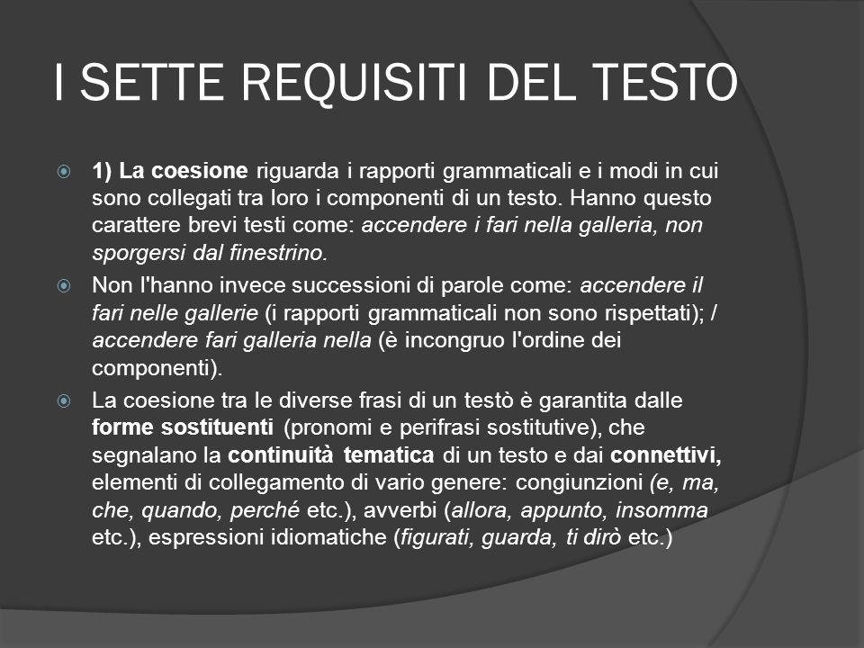 I SETTE REQUISITI DEL TESTO