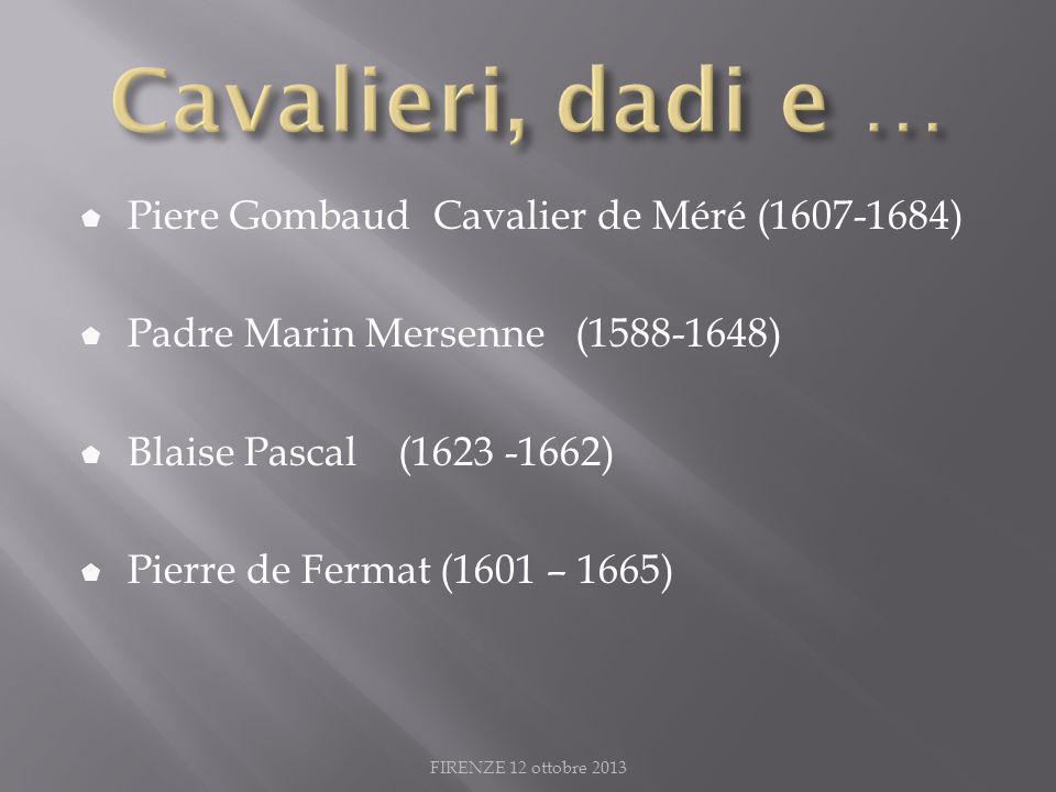 Cavalieri, dadi e … Piere Gombaud Cavalier de Méré (1607-1684)