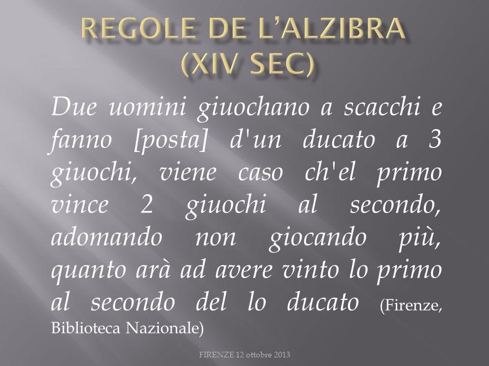 REGOLE DE L'ALZIBRA (XIV Sec)