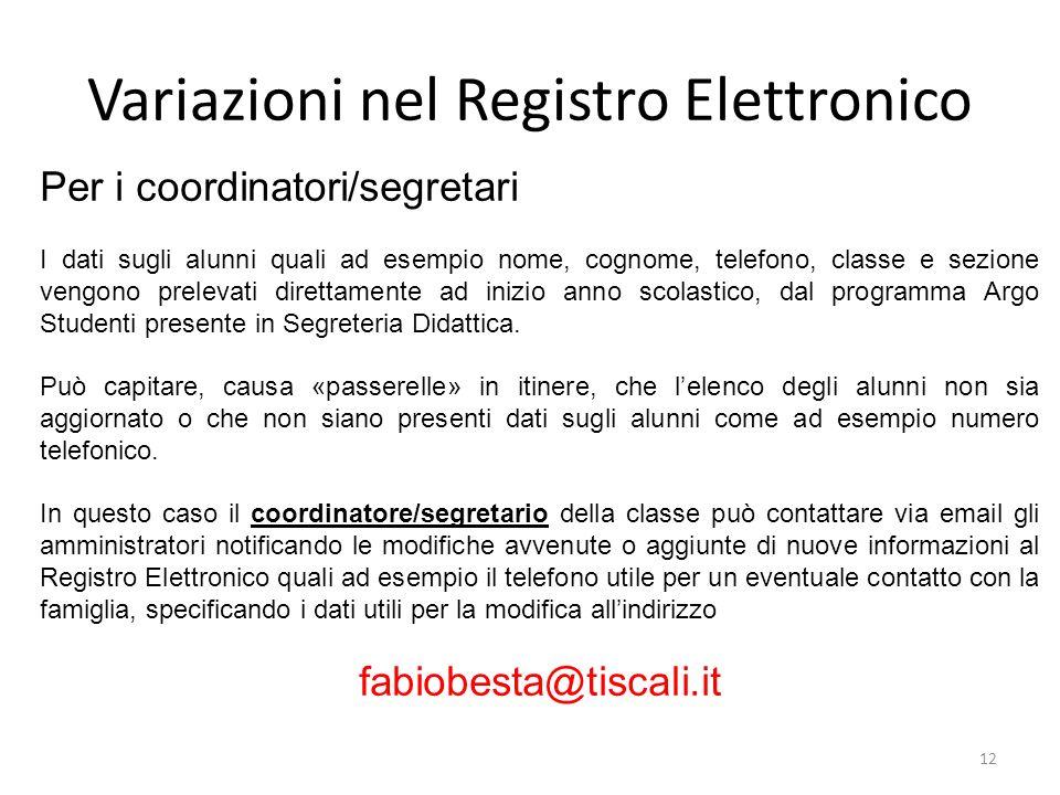 Variazioni nel Registro Elettronico