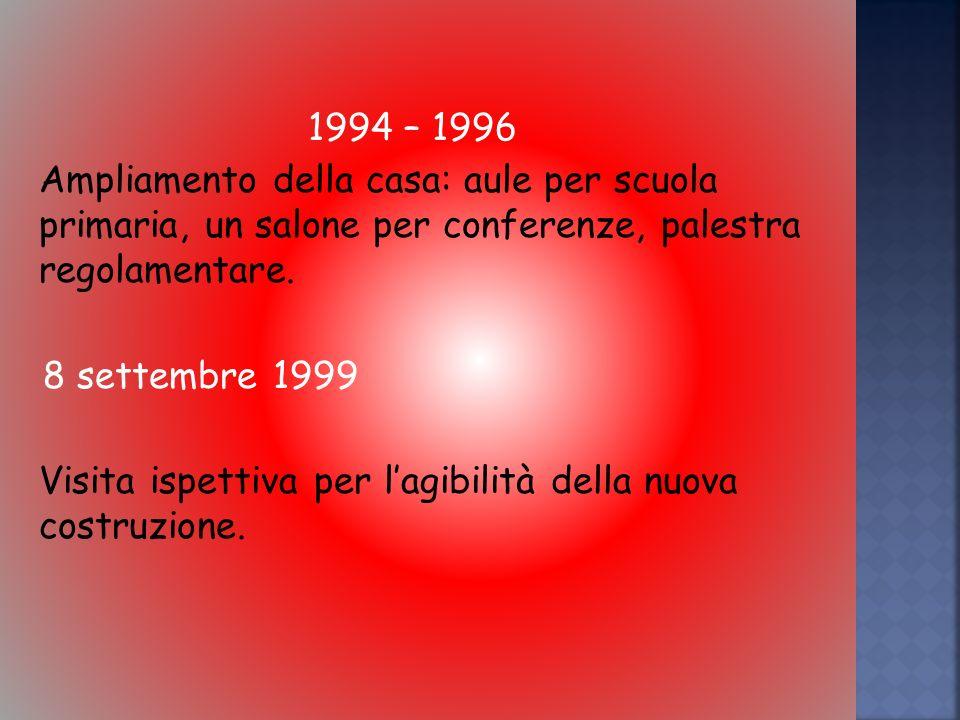 1994 – 1996 Ampliamento della casa: aule per scuola primaria, un salone per conferenze, palestra regolamentare.