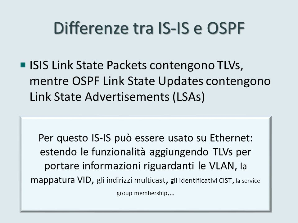 Differenze tra IS-IS e OSPF