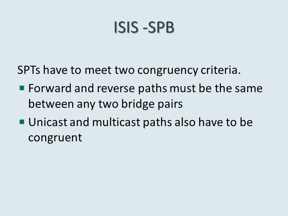 ISIS -SPB SPTs have to meet two congruency criteria.