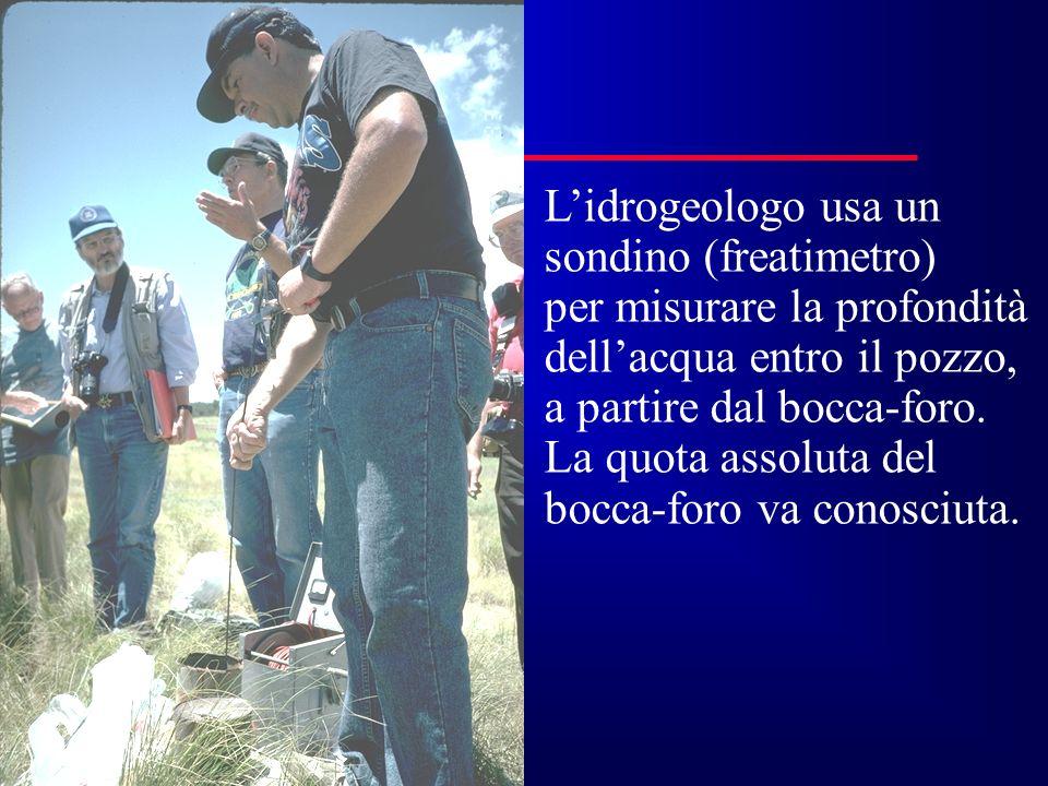 L'idrogeologo usa un sondino (freatimetro) per misurare la profondità. dell'acqua entro il pozzo,