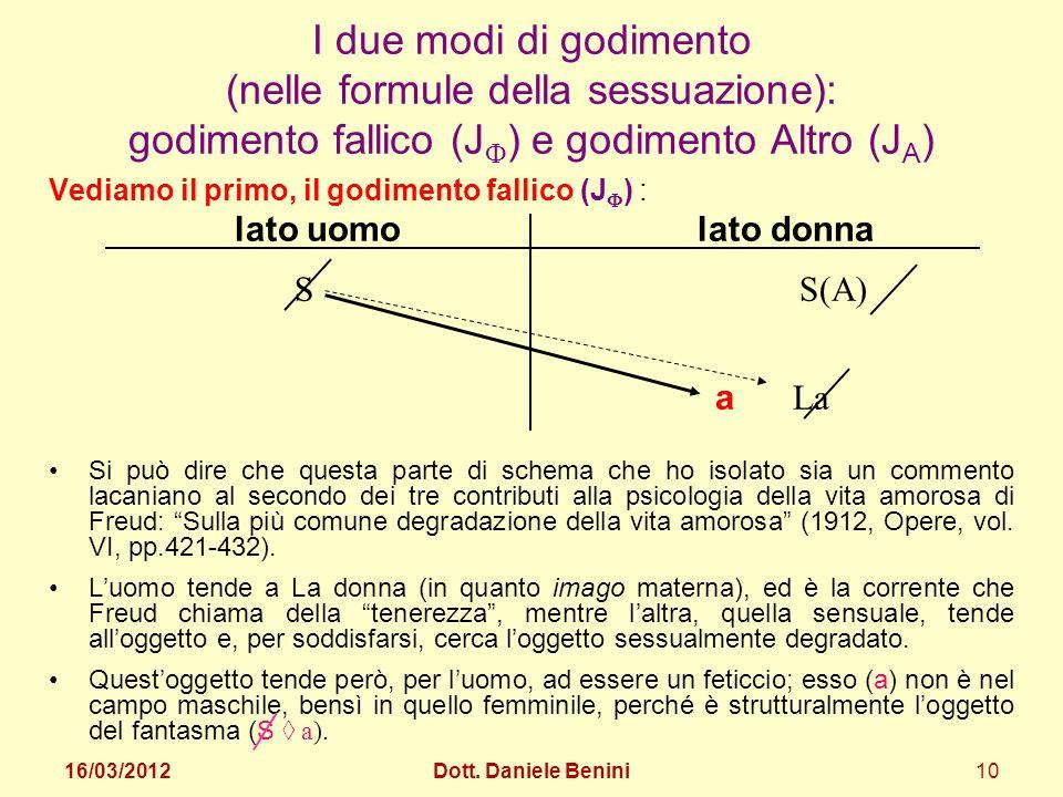 I due modi di godimento (nelle formule della sessuazione): godimento fallico (J) e godimento Altro (JA)