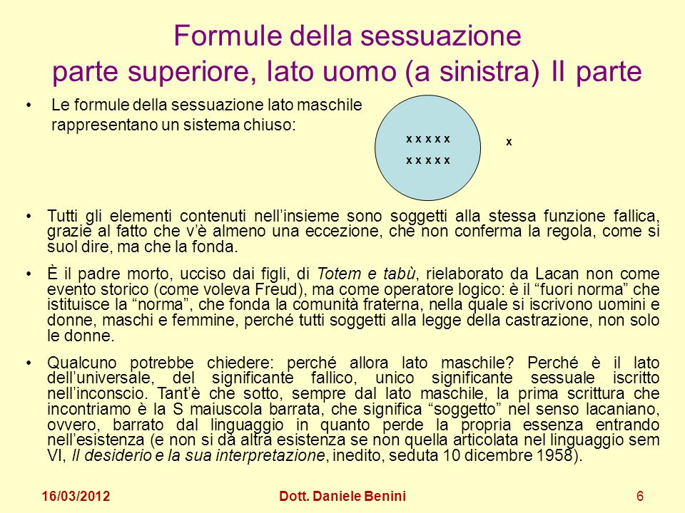 Formule della sessuazione parte superiore, lato uomo (a sinistra) II parte