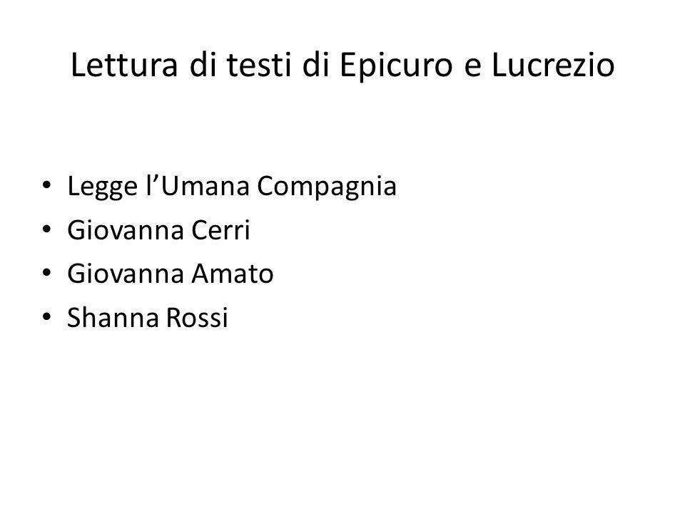 Lettura di testi di Epicuro e Lucrezio