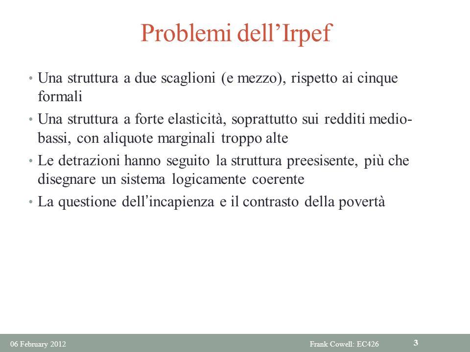 Problemi dell'Irpef Una struttura a due scaglioni (e mezzo), rispetto ai cinque formali.