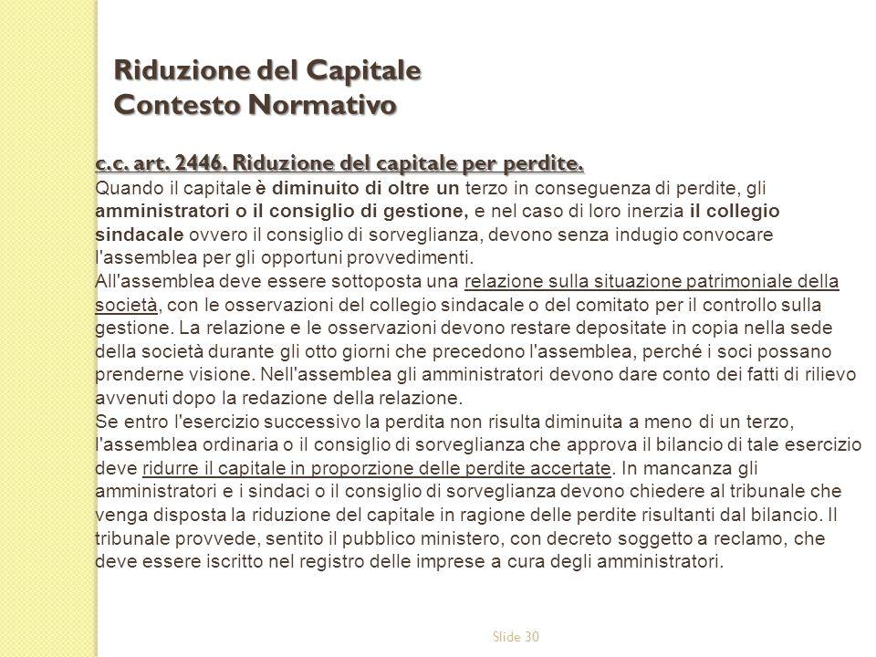 Riduzione del Capitale Contesto Normativo