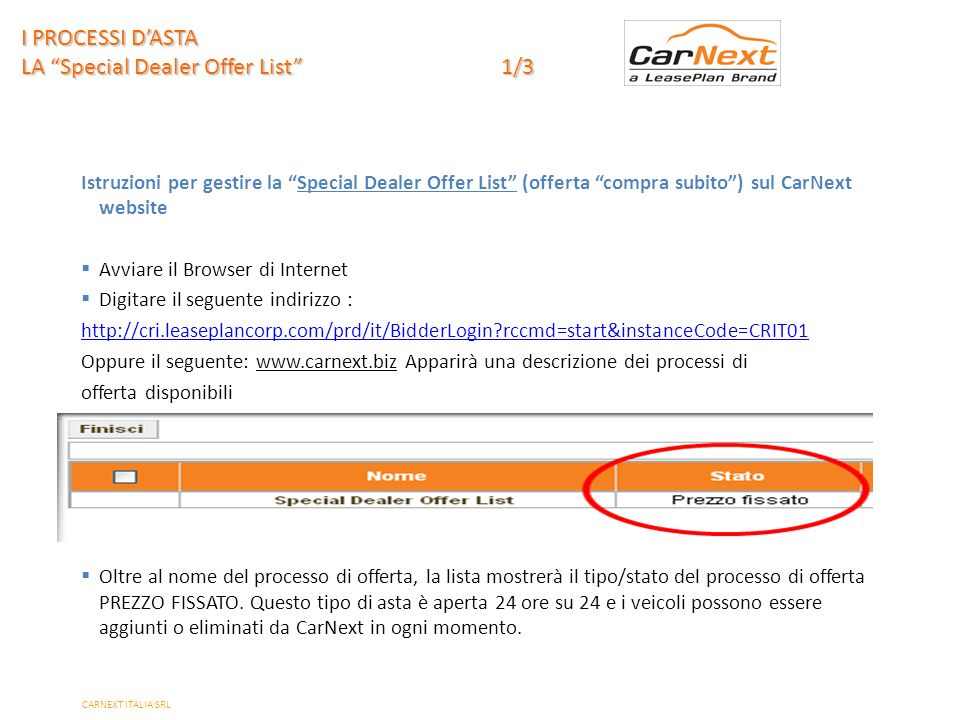 I PROCESSI D'ASTA LA Special Dealer Offer List 1/3