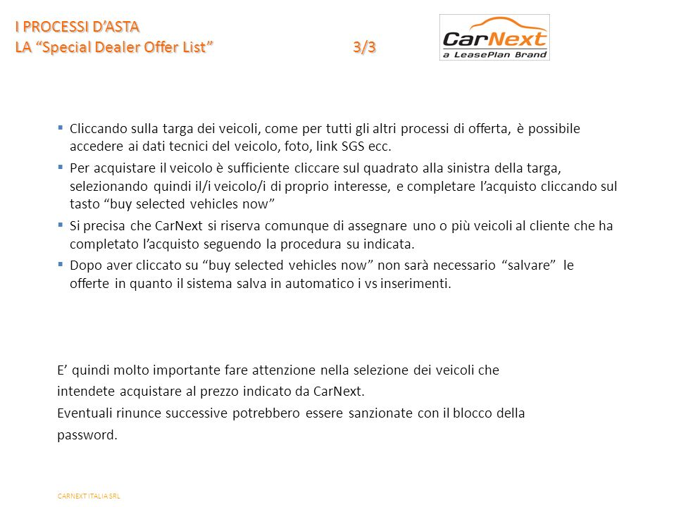 I PROCESSI D'ASTA LA Special Dealer Offer List 3/3