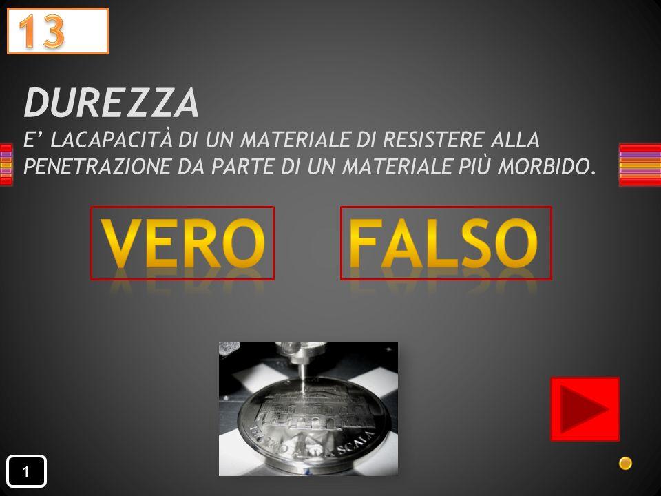 DUREZZA E' LACAPACITÀ DI UN MATERIALE DI RESISTERE ALLA PENETRAZIONE DA PARTE DI UN MATERIALE PIÙ MORBIDO.