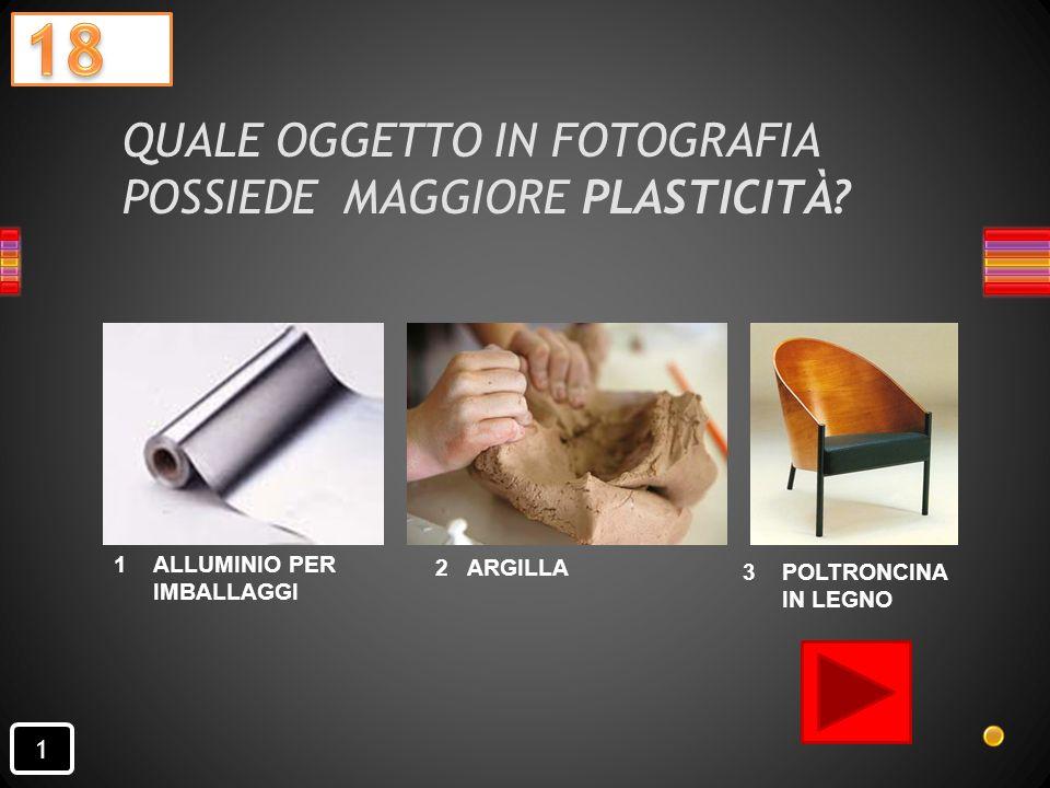 QUALE OGGETTO IN FOTOGRAFIA POSSIEDE MAGGIORE PLASTICITÀ