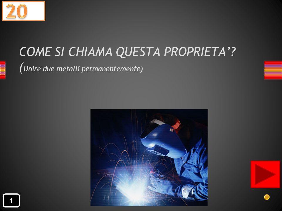 COME SI CHIAMA QUESTA PROPRIETA' (Unire due metalli permanentemente)