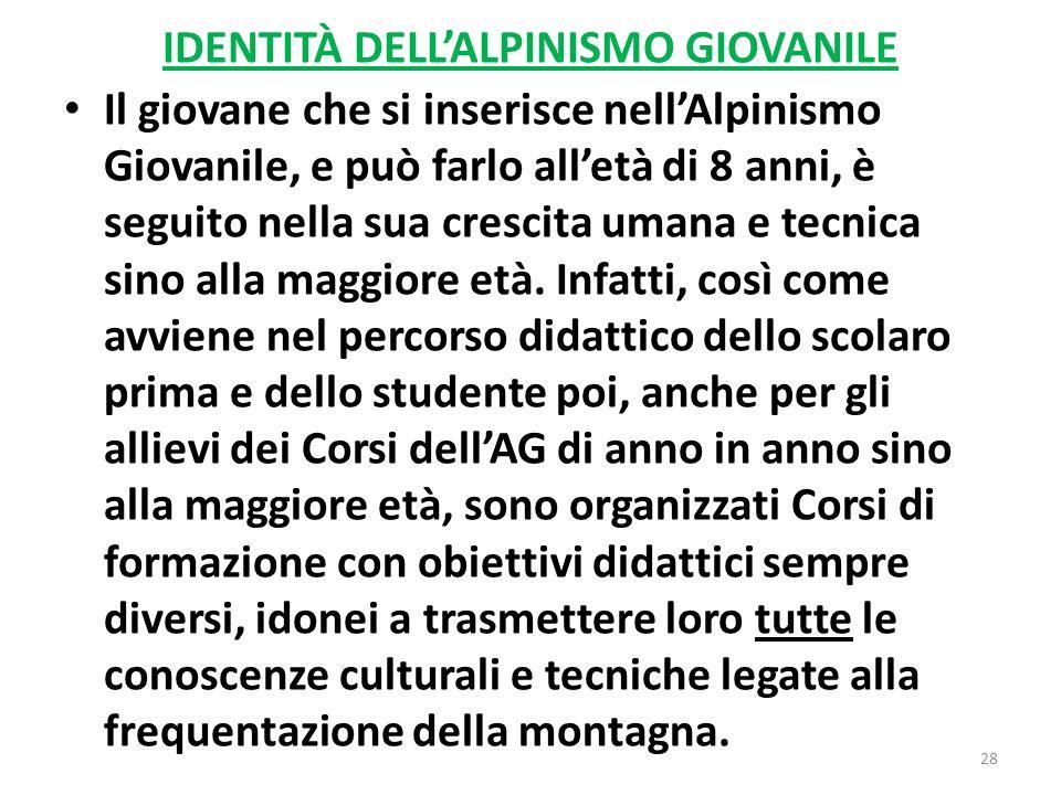 IDENTITÀ DELL'ALPINISMO GIOVANILE
