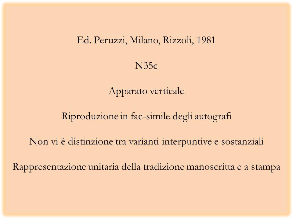 Ed. Peruzzi, Milano, Rizzoli, 1981