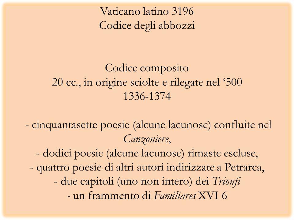 Vaticano latino 3196 Codice degli abbozzi Codice composito 20 cc