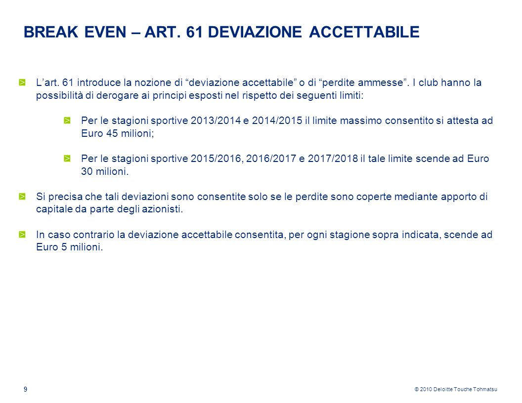 BREAK EVEN – ART. 61 DEVIAZIONE ACCETTABILE