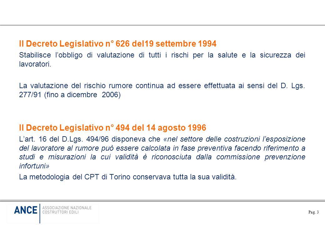 Il Decreto Legislativo n° 626 del19 settembre 1994