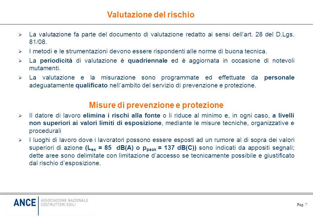 Valutazione del rischio Misure di prevenzione e protezione