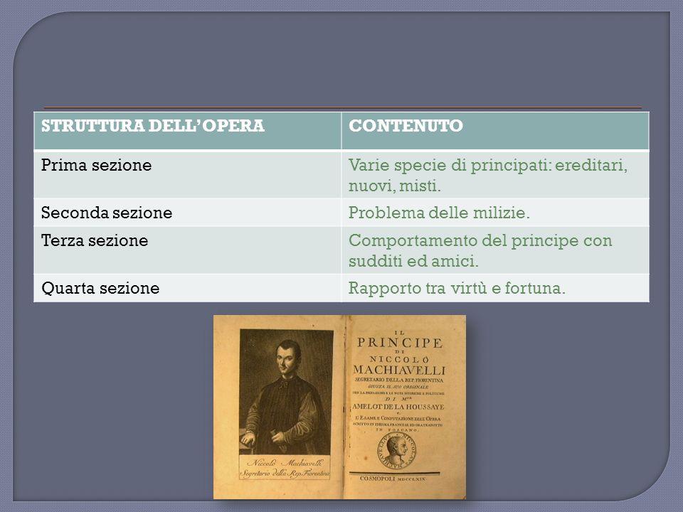 STRUTTURA DELL'OPERA CONTENUTO. Prima sezione. Varie specie di principati: ereditari, nuovi, misti.