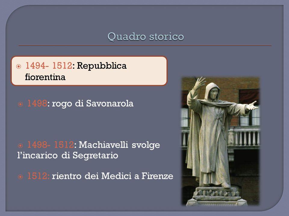 Quadro storico 1494- 1512: Repubblica fiorentina