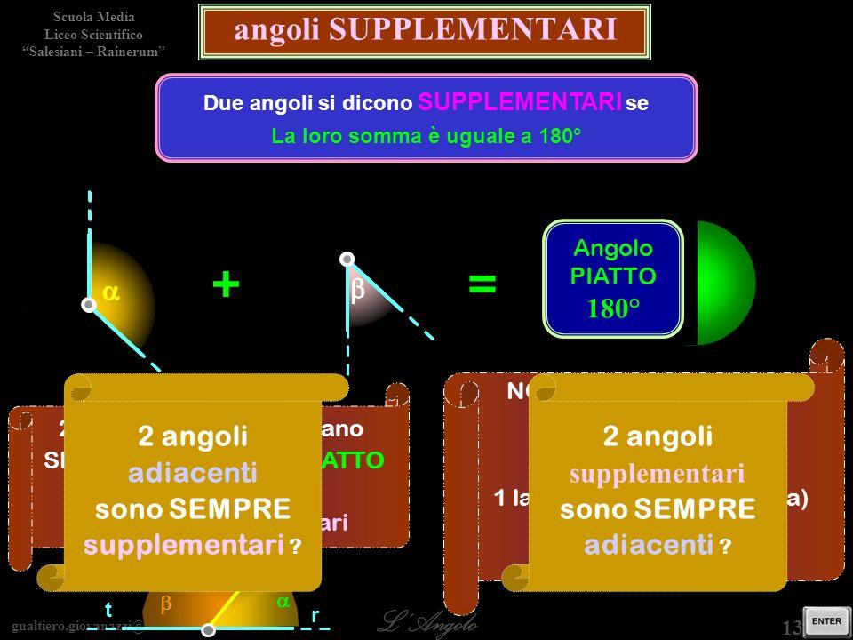 Due angoli si dicono SUPPLEMENTARI se La loro somma è uguale a 180°