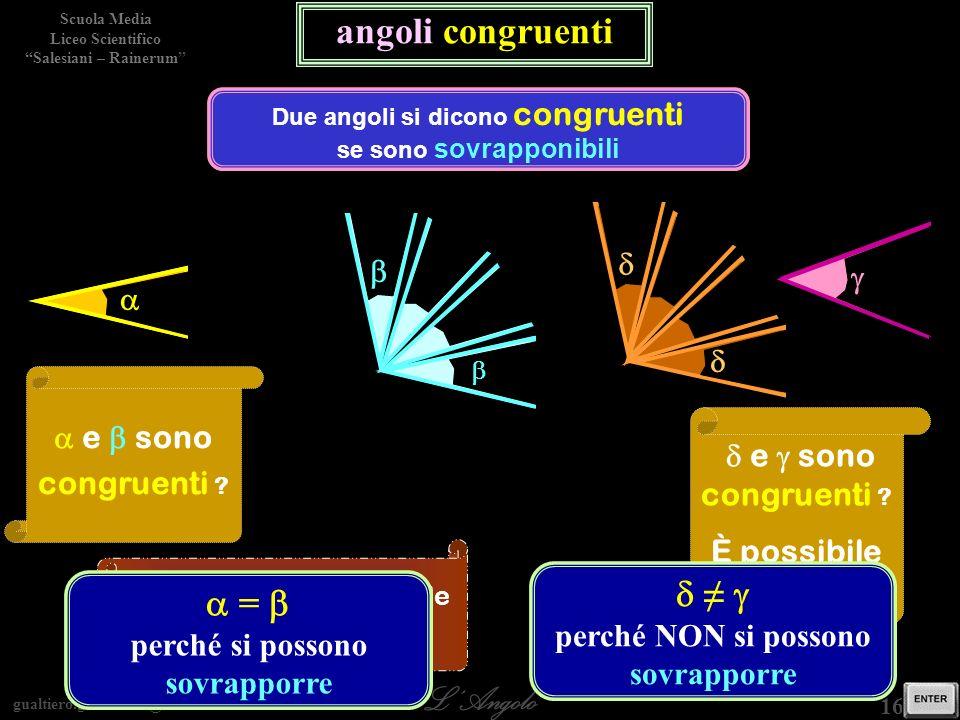 Due angoli si dicono congruenti se sono sovrapponibili