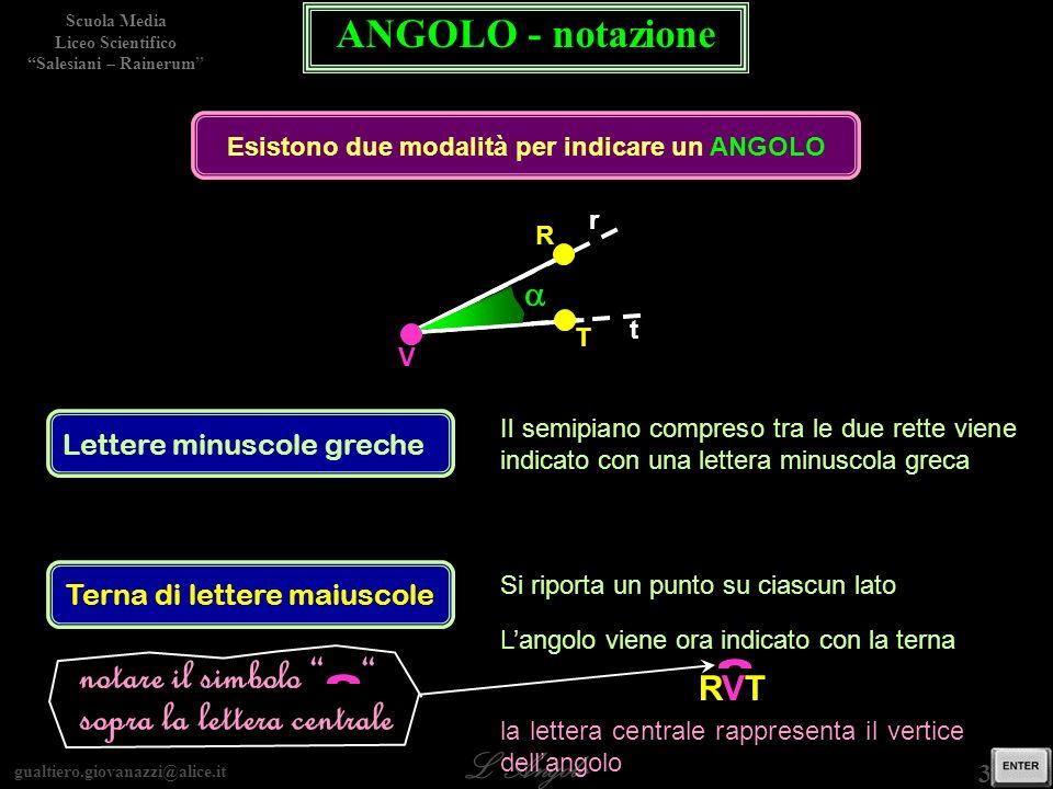 Esistono due modalità per indicare un ANGOLO
