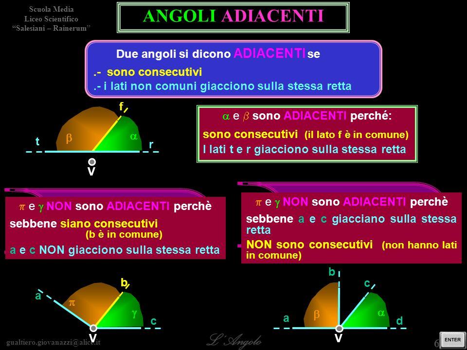ANGOLI ADIACENTI gli angoli gli angoli p e g p e g sono ADIACENTI