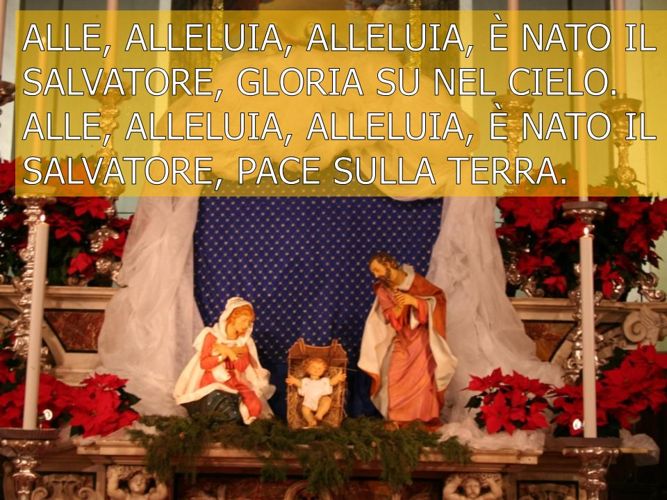 Alle, alleluia, alleluia, è nato il Salvatore, gloria su nel cielo