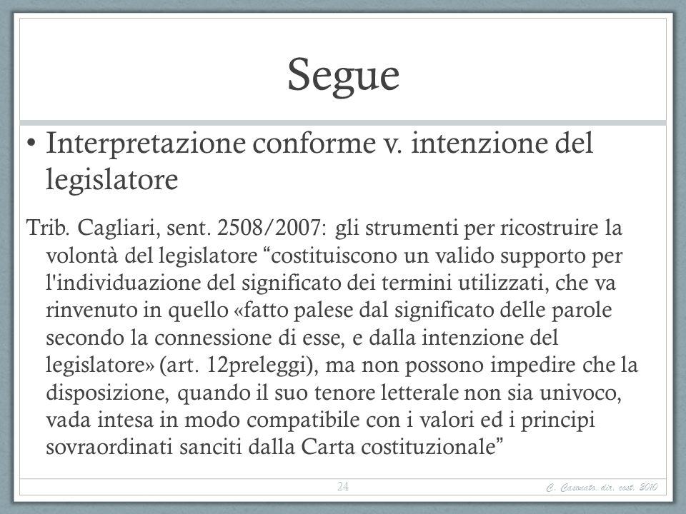 Segue Interpretazione conforme v. intenzione del legislatore