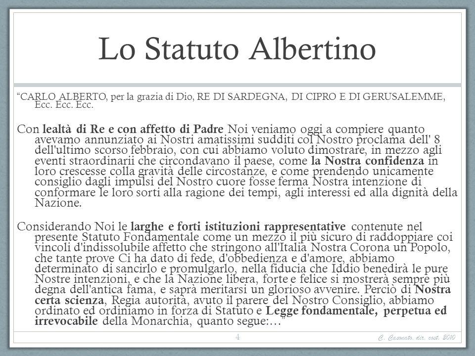 Lo Statuto Albertino CARLO ALBERTO, per la grazia di Dio, RE DI SARDEGNA, DI CIPRO E DI GERUSALEMME, Ecc. Ecc. Ecc.