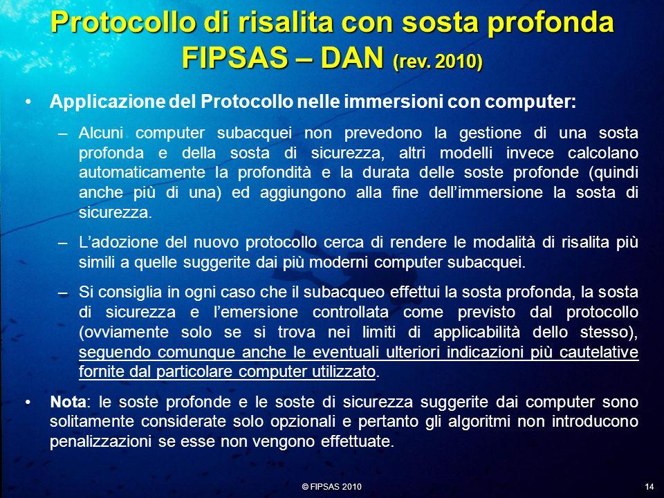 Protocollo di risalita con sosta profonda FIPSAS – DAN (rev. 2010)