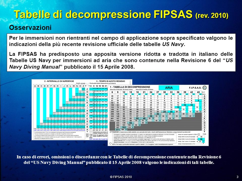 Tabelle di decompressione FIPSAS (rev. 2010)