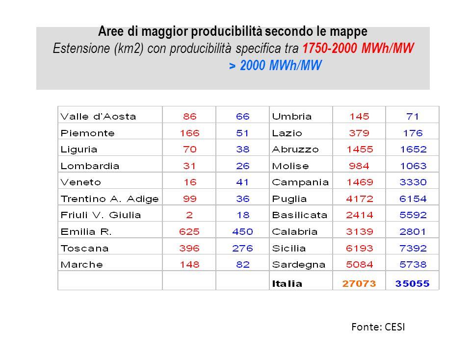 Aree di maggior producibilità secondo le mappe Estensione (km2) con producibilità specifica tra 1750-2000 MWh/MW > 2000 MWh/MW
