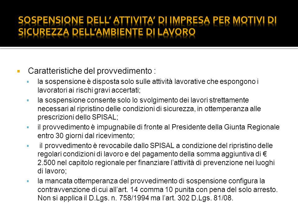 SOSPENSIONE DELL' ATTIVITA' DI IMPRESA PER MOTIVI DI SICUREZZA DELL'AMBIENTE DI LAVORO